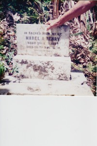 Mabel Henry's headstone in Kellits, Clarendon: In Sacred Memory of Mabel Henry, Born 3rd Aug. 1882, Died 14th Dec. 1944