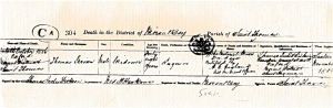 Death Cert. for the Second Thomas Girvan 1866
