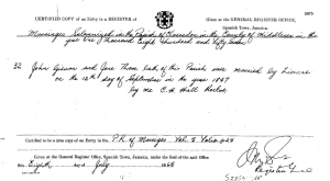 Marriage certificate: John Thomas Girvan and Jane Thom